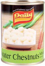 Daily Waterkastanjes Heel van uitstekende kwaliteit. Te gebruiken in salades, wokgerechten en oosterse snacks. Geen conserveringsmiddelen toegevoegd.
