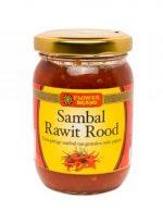 Flowerbrand sambal rawit rood is gemaakt van kleine rode rawit pepers waardoor deze sambal extra heet van smaak is.