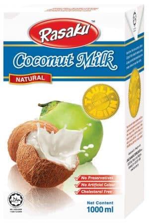 Rasaku kokosmelk (natural), bevat 20% vet.