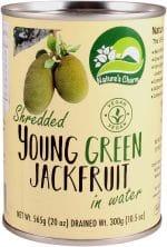 Vegan Nature's Charm young green jackfruit shredded in water. Zoals u gewend bent is ook dit Nature's Charm product geheel natuurlijk, glutenvrij en Halal.