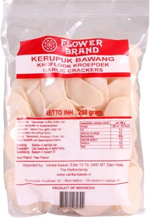 Flowerbrand krupuk kerupuk bawang knoflook garlic crackers 250 gram