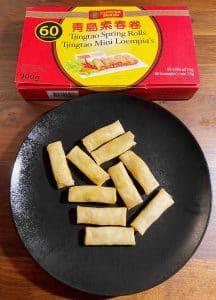 Flowerbrand vegetarische mini loempia's tjingtao spring rolls bereid