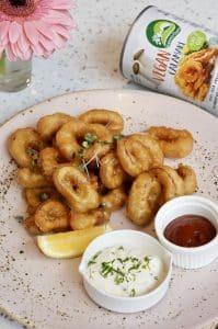 Natures Charm vegan calamari 425gram bereid