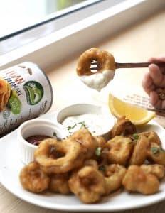 Natures Charm vegan calamari 425gram prepared