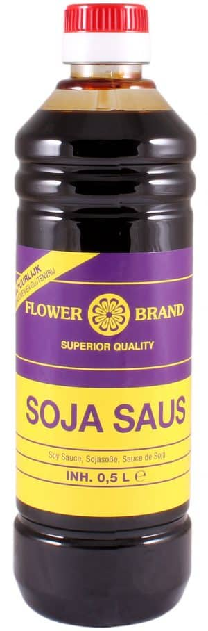Flowerbrand suprior quality sojasaus petfles 500ml natuurlijk gebrouwen en glutenvrij